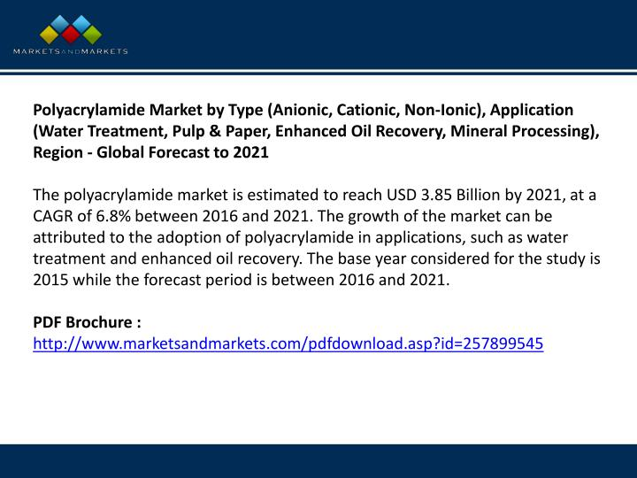 Polyacrylamide Market by Type (Anionic, Cationic, Non-Ionic), Application (Water Treatment, Pulp & Paper, Enhanced Oil Recovery, Mineral Processing), Region - Global Forecast to 2021