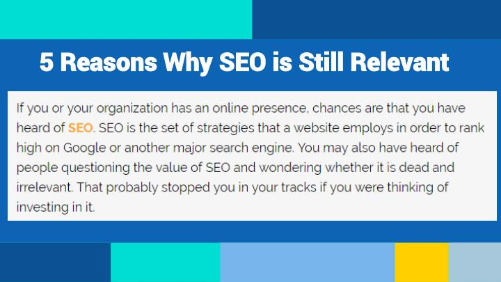 5 Reasons Why SEO is Still Relevant