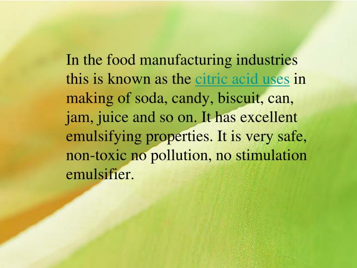 In the food manufacturing industries this is known as the