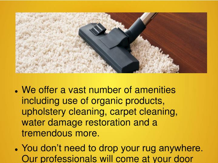 We offer a vast number of amenities including use of organic products, upholstery cleaning, carpet c...
