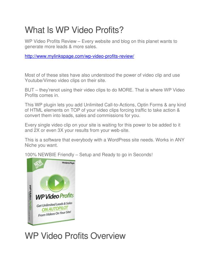 What Is WP Video Profits?