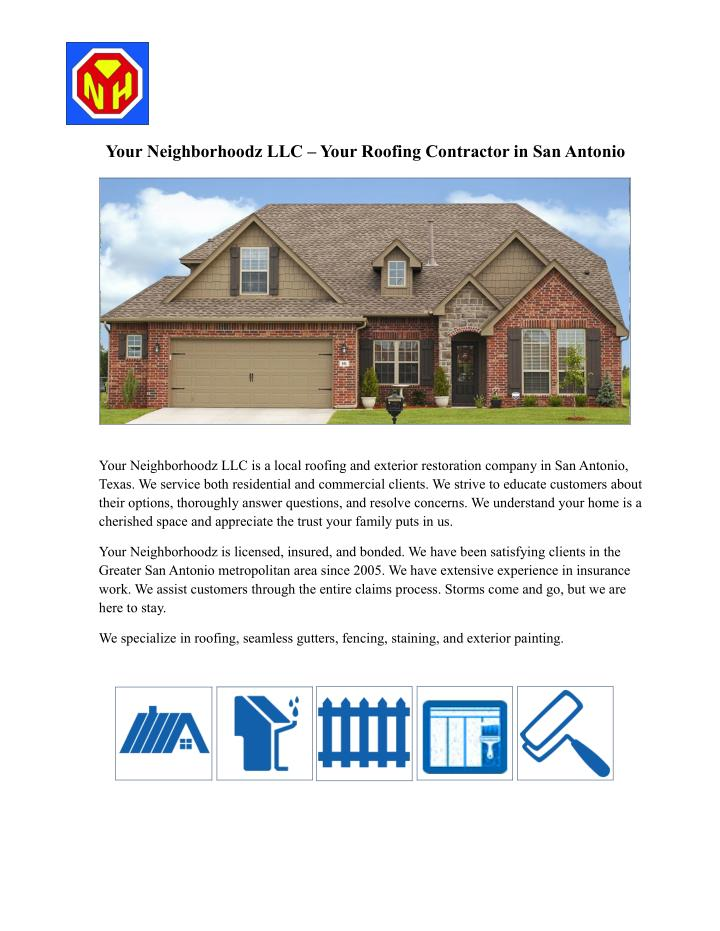 Your Neighborhoodz LLC – Your Roofing Contractor in San Antonio