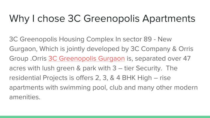 Why I chose 3C Greenopolis Apartments