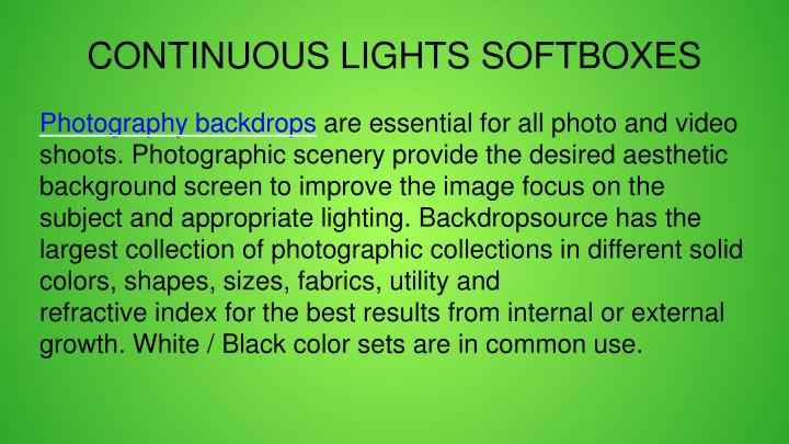 CONTINUOUS LIGHTS SOFTBOXES