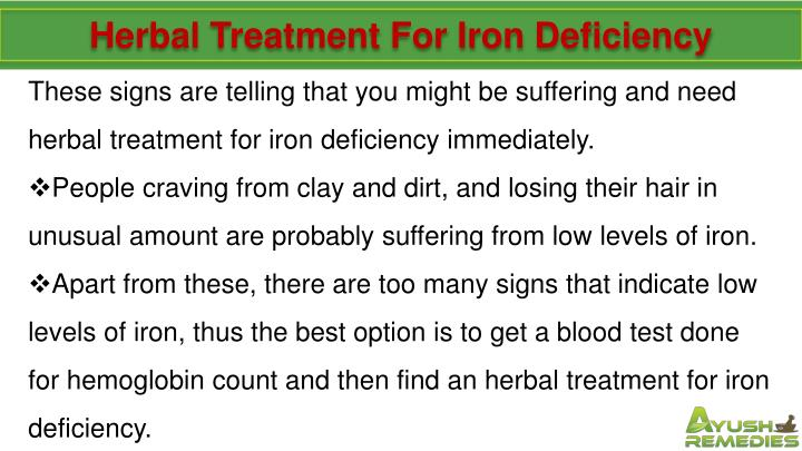 Herbal Treatment For Iron Deficiency