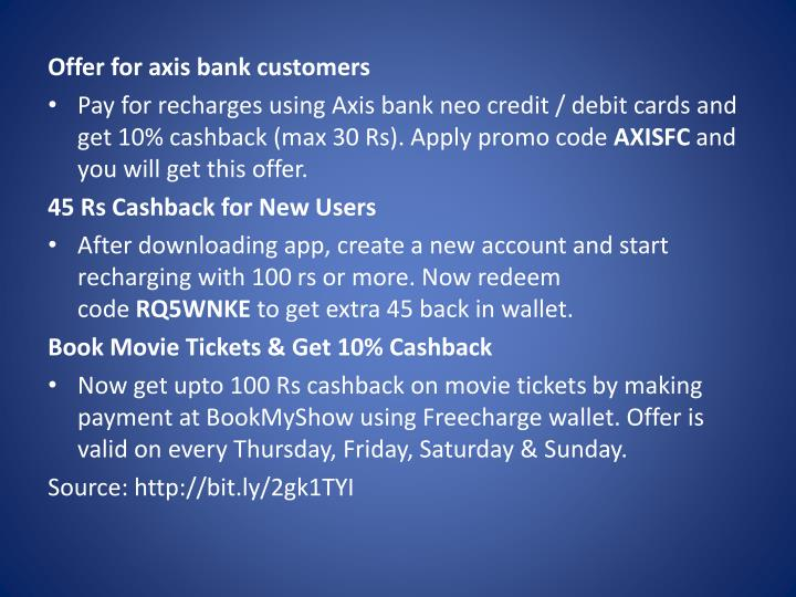 Offer for axis bank customers
