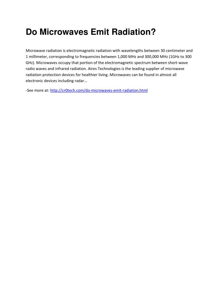 Do Microwaves Emit Radiation?