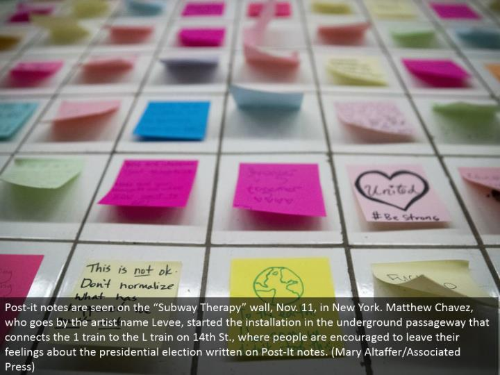 "Post-it notes are seen on the ""Metro Therapy"" divider, Nov. 11, in New York. Matthew Chavez, who passes by the craftsman name Levee, began the establishment in the underground way that associates the 1 prepare to the L prepare on fourteenth St., where individuals are urged to leave their sentiments about the presidential decision composed on Post-It notes. (Mary Altaffer/Associated Press)"