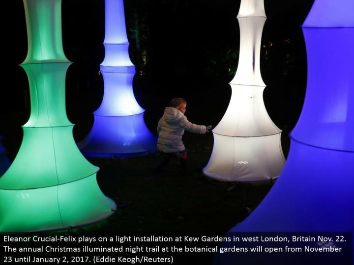 Eleanor Crucial-Felix plays on a light establishment at Kew Gardens in west London, Britain Nov. 22. The yearly Christmas lit up night trail at the plant patio nurseries will open from November 23 until January 2, 2017. (Eddie Keogh/Reuters)