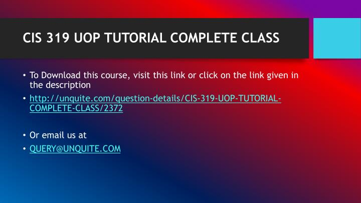 Cis 319 uop tutorial complete class1