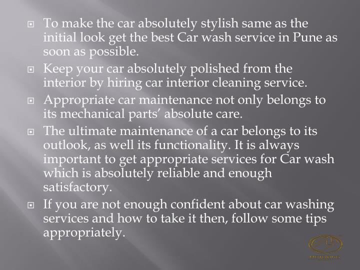 To make the car absolutely stylish same as the initial look get the best Car wash service in Pune as...