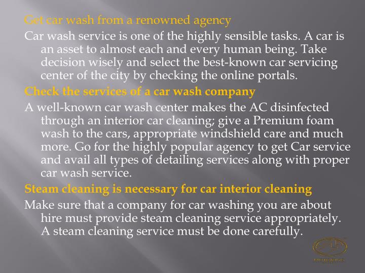 Get car wash from a renowned agency