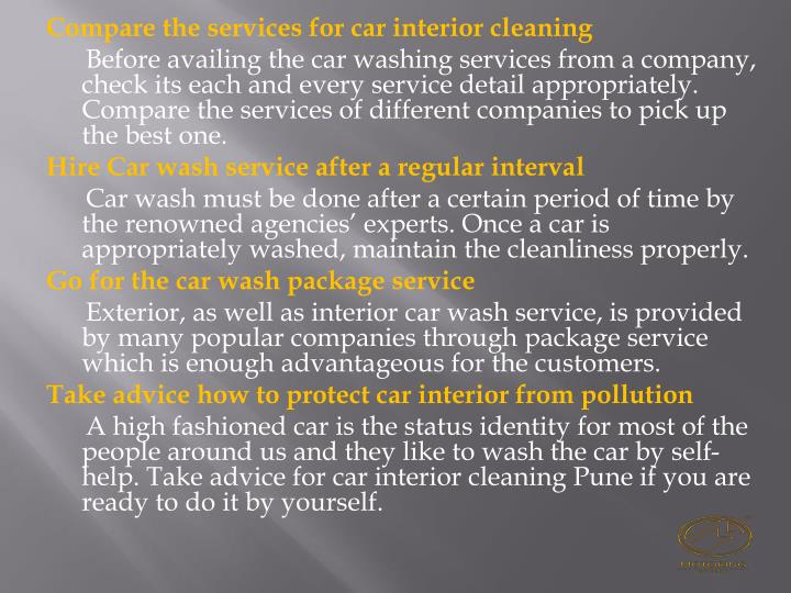Compare the services for car interior cleaning