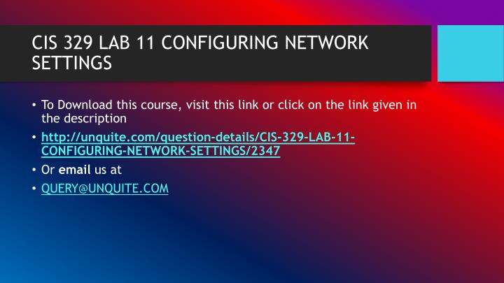 Cis 329 lab 11 configuring network settings1
