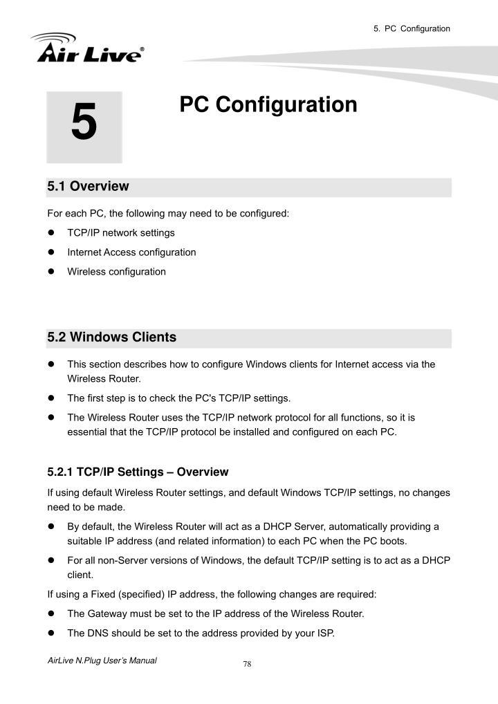 5. PC Configuration