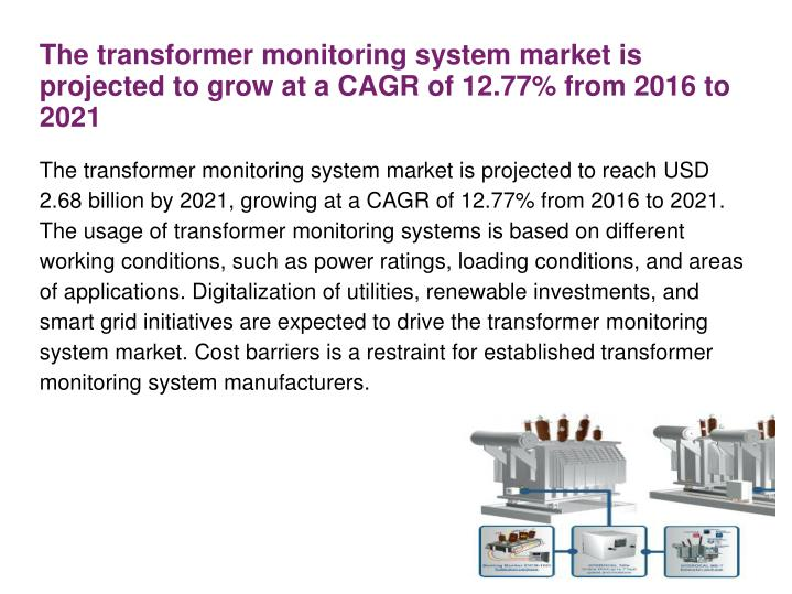 The transformer monitoring system market is projected to reach USD 2.68 billion by 2021, growing at a CAGR of 12.77% from 2016 to 2021. The usage of transformer monitoring systems is based on different working conditions, such as power ratings, loading conditions, and areas of applications. Digitalization of utilities, renewable investments, and smart grid initiatives are expected to drive the transformer monitoring system market. Cost barriers is a restraint for established transformer monitoring system manufacturers.