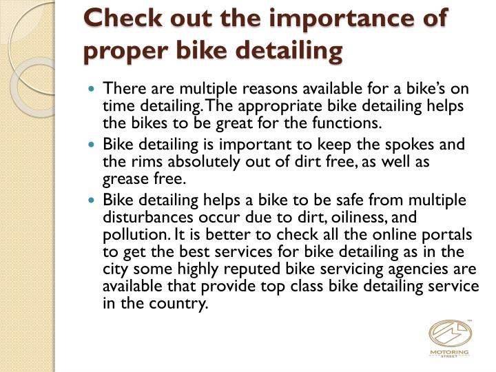 Check out the importance of proper bike detailing