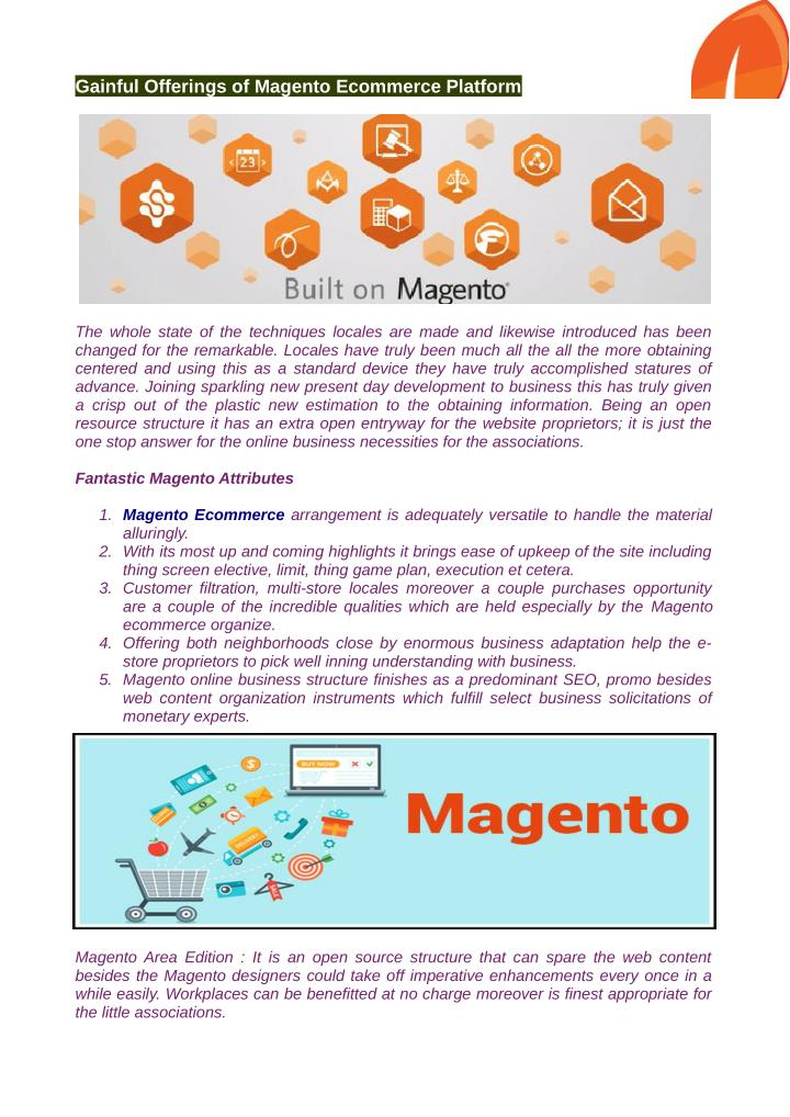 Gainful Offerings of Magento Ecommerce Platform