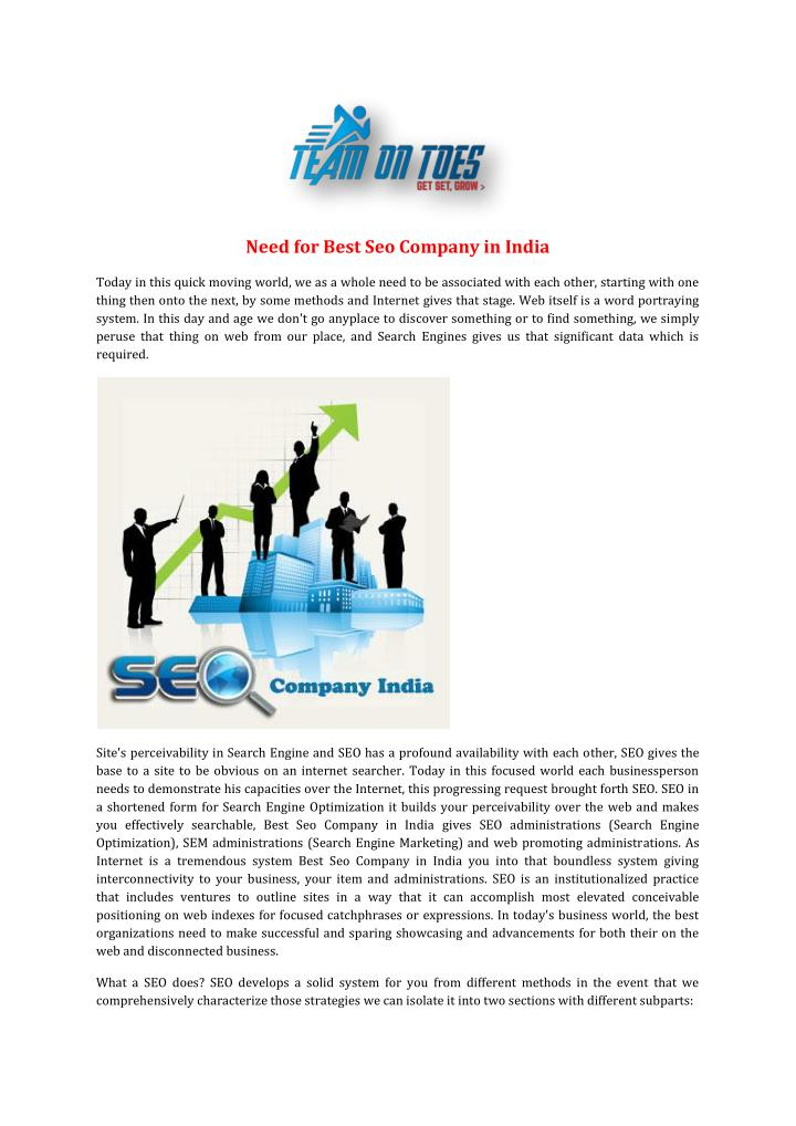 Need for Best Seo Company in India