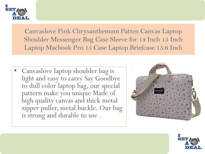Canvaslove Pink Chrysanthemum Patten Canvas Laptop Shoulder Messenger Bag Case Sleeve for 14 Inch 15 Inch Laptop