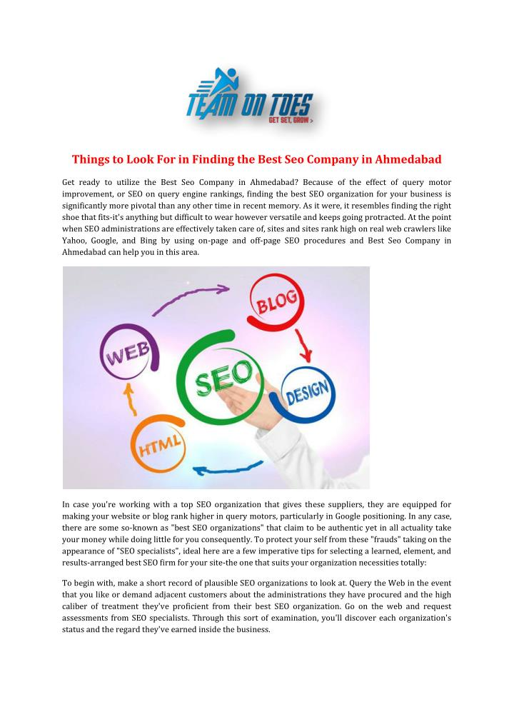 Things to Look For in Finding the Best Seo Company in Ahmedabad