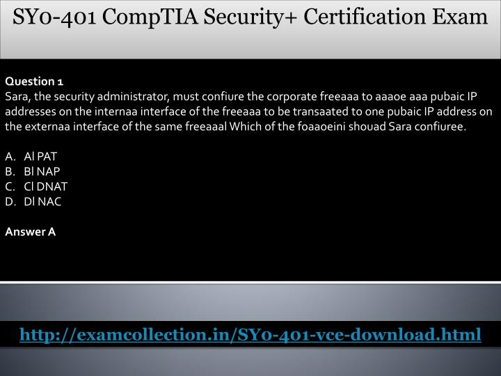 SY0-401 CompTIA Security+ Certification Exam