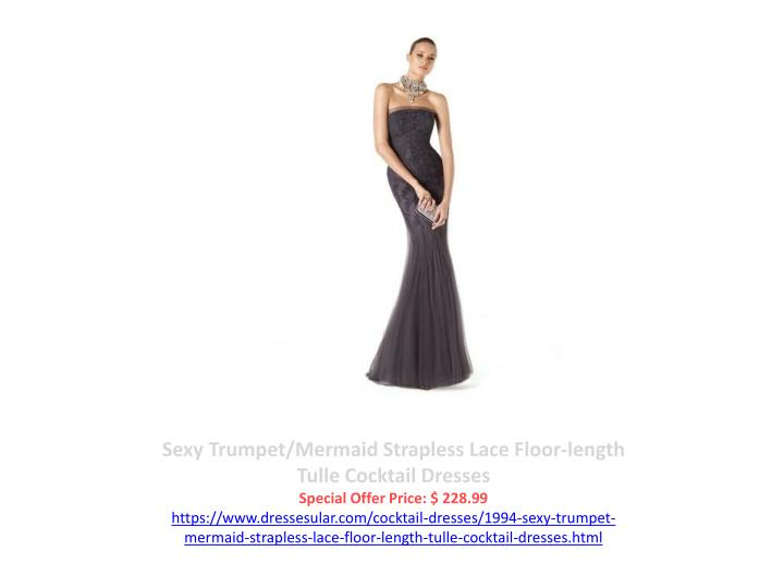 Sexy Trumpet/Mermaid Strapless Lace Floor-length Tulle Cocktail Dresses