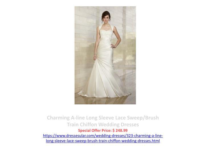 Charming A-line Long Sleeve Lace Sweep/Brush Train Chiffon Wedding Dresses