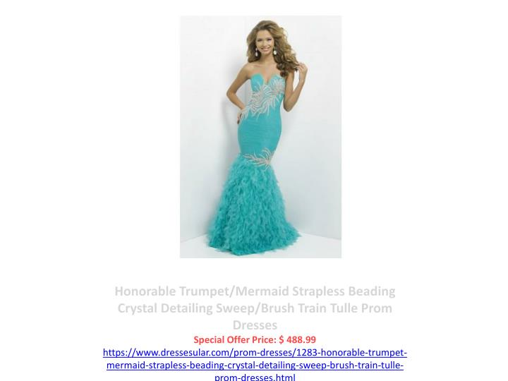 Honorable Trumpet/Mermaid Strapless Beading Crystal Detailing Sweep/Brush Train Tulle Prom Dresses