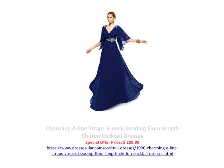 Charming A-line Straps V-neck Beading Floor-length Chiffon Cocktail Dresses