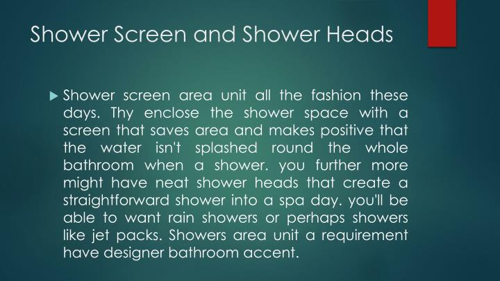 Shower Screen and Shower Heads