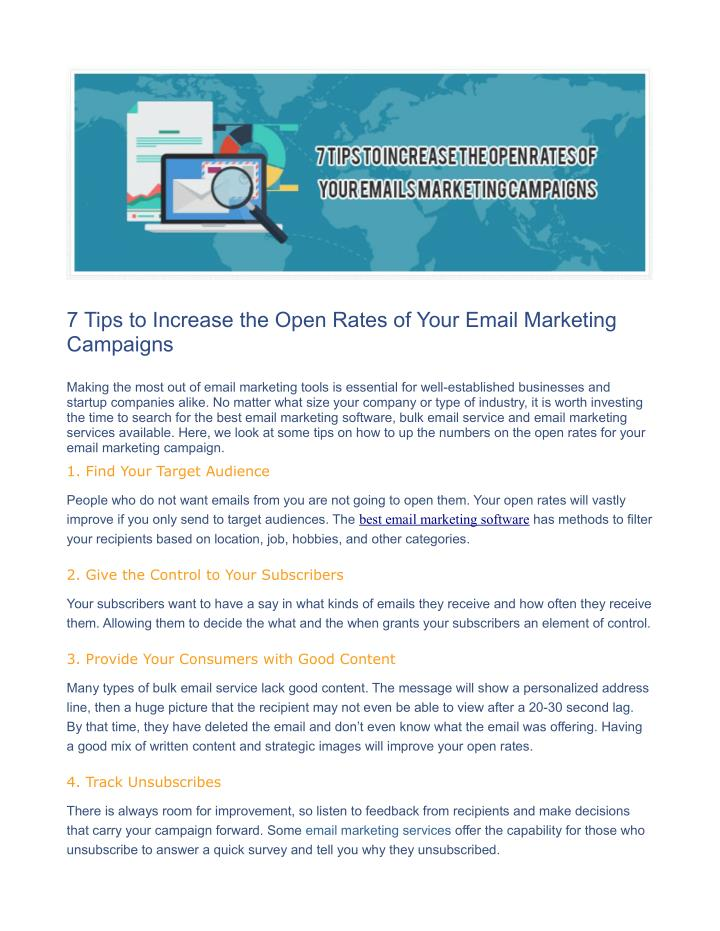 7 Tips to Increase the Open Rates of Your Email Marketing