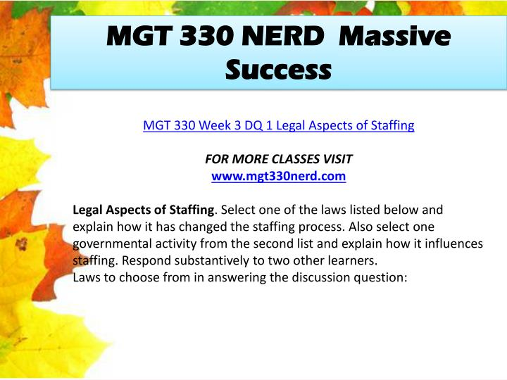 MGT 330 NERD  Massive Success