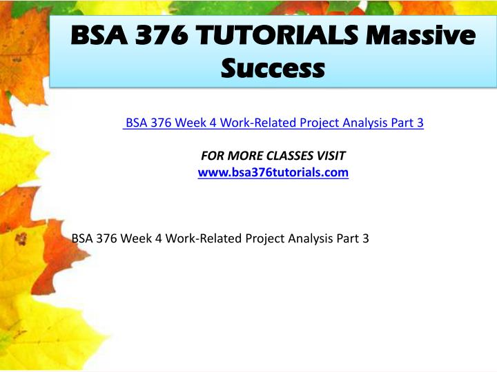 BSA 376 TUTORIALS Massive Success