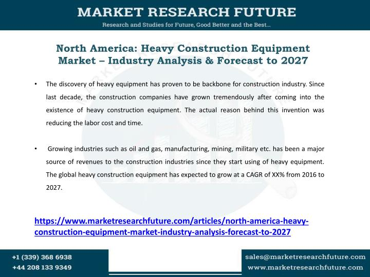 North America: Heavy Construction Equipment Market – Industry Analysis & Forecast to 2027