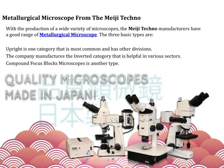 Metallurgical microscope from the meiji techno