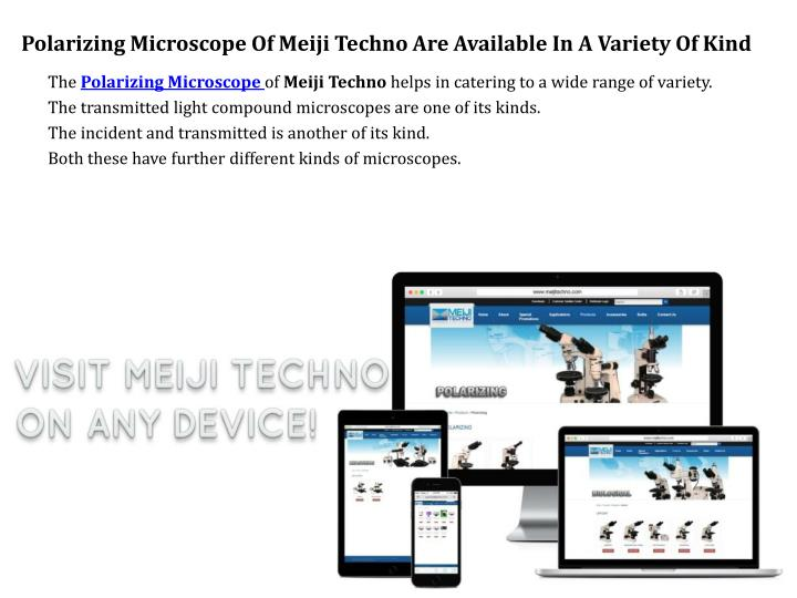 Polarizing Microscope Of Meiji Techno Are Available In A Variety Of Kind