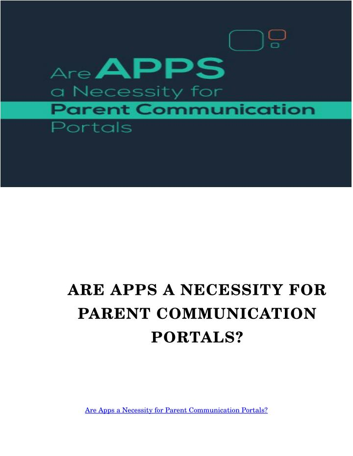 ARE APPS A NECESSITY FOR