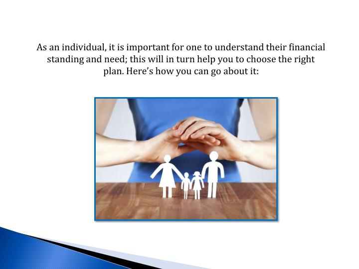 As an individual, it is important for one to understand their financial standing and need; this will...