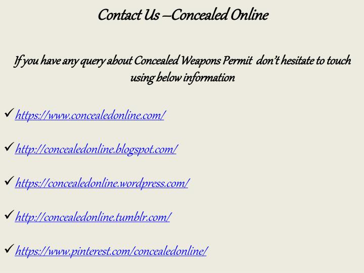 Contact Us –Concealed Online
