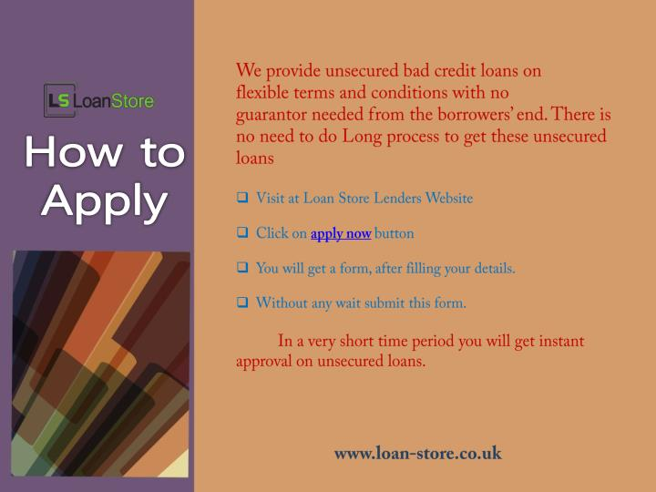 We provide unsecured bad credit loans on
