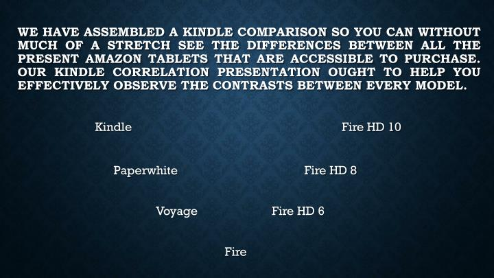 We have assembled a Kindle comparison so you can without much of a stretch see the differences betwe...