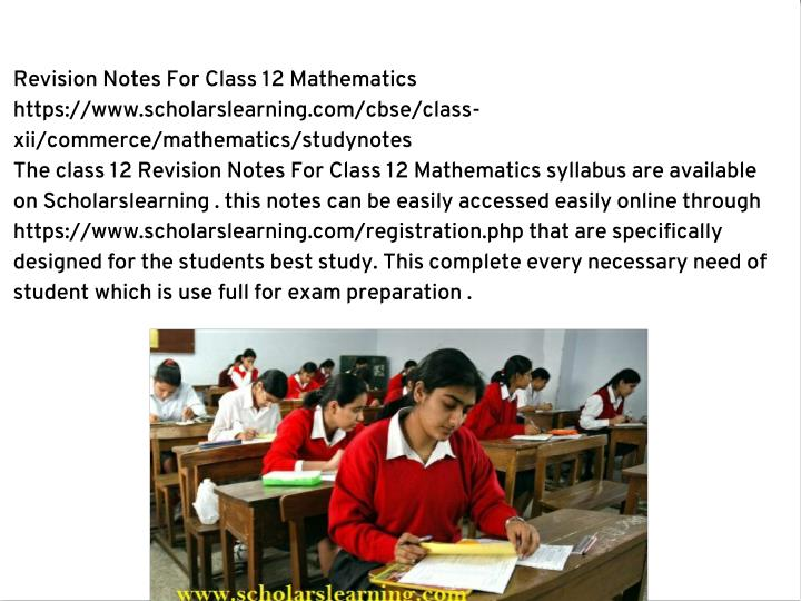 Revision Notes For Class 12 Mathematics