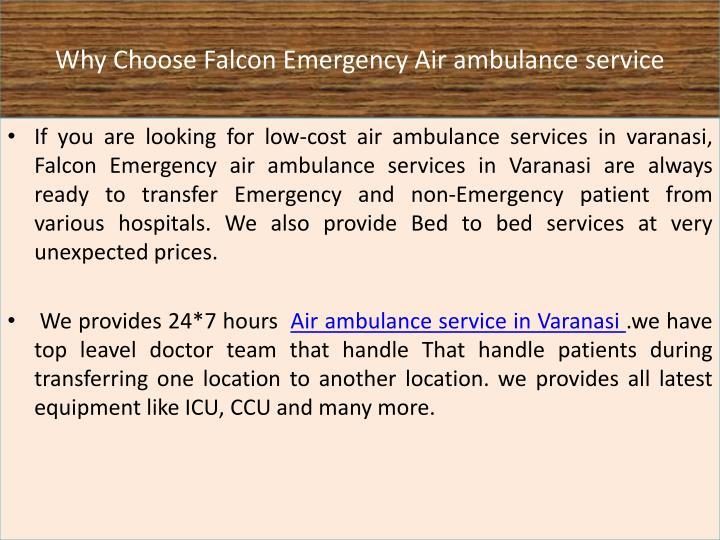 Why Choose Falcon Emergency Air ambulance service
