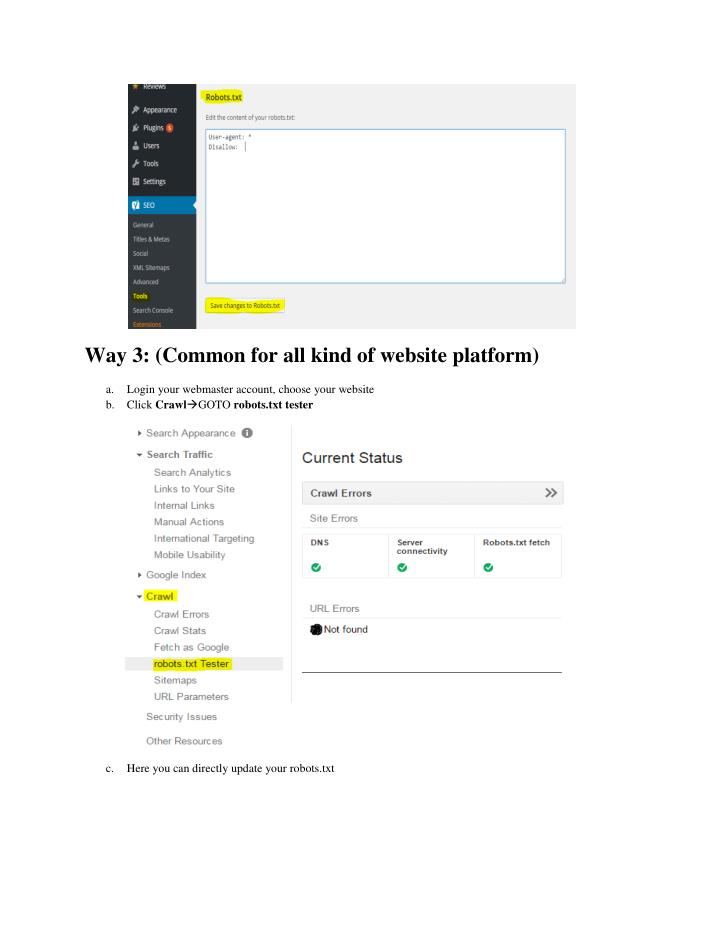 Way 3: (Common for all kind of website platform)