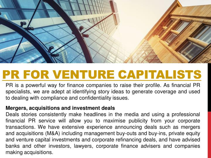 PR FOR VENTURE CAPITALISTS