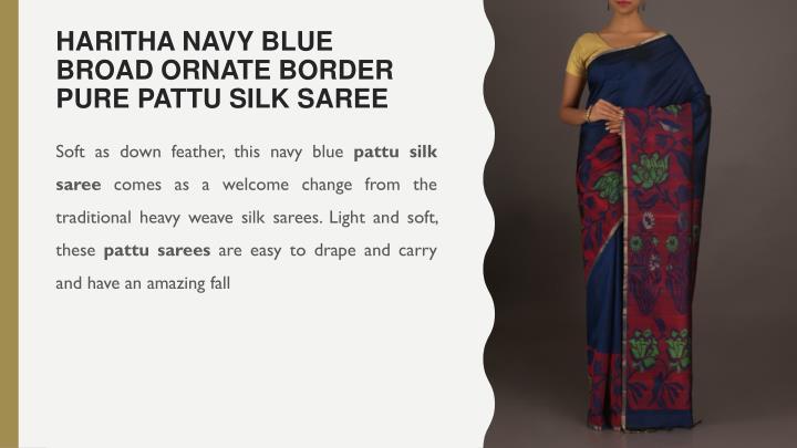 Haritha Navy Blue Broad Ornate Border Pure