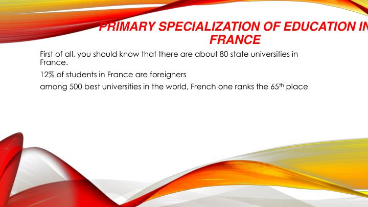 Primary Specialization of Education in France