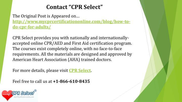 "Contact ""CPR Select"""