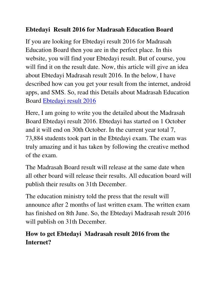 Ebtedayi Result 2016 for Madrasah Education Board